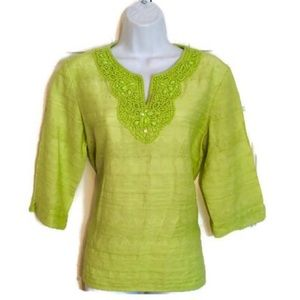 HOST PICK Alfred Dunner green beaded top 12p NWOT